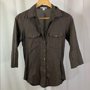 JAMES PERSE Sheer Button Down Shirt Brown SZ 1 (S)